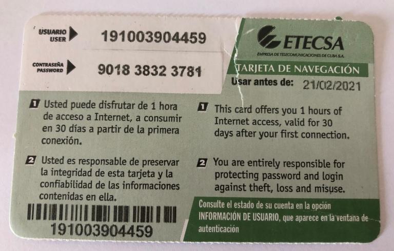 Tarjeta de Wifi ETECSA